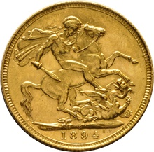1894 Gold Sovereign - Victoria Old Head - S