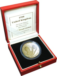 1998 - Gold £5 Proof Crown, Prince Charles 50th Birthday Boxed
