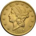 1907 $20 Double Eagle Liberty Head Gold Coin, San Francisco