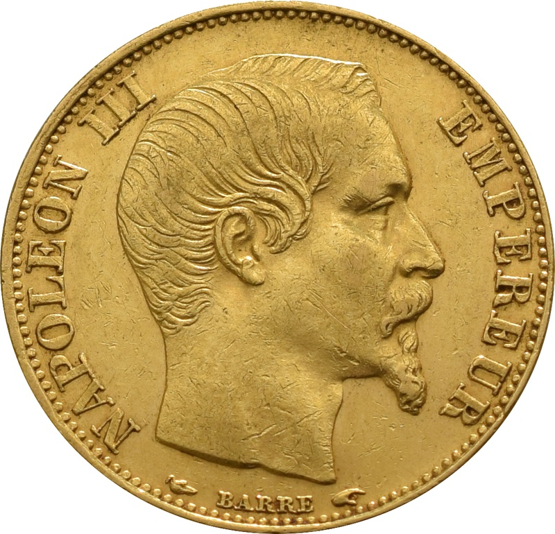 20 French Francs - Napoleon III Bare Head