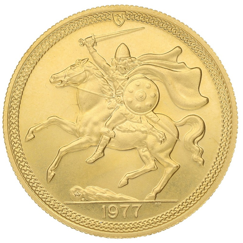 1977 - Gold £5 Proof Coin (Quintuple Sovereign) Isle of Man