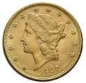1907 $20 Double Eagle Liberty Head Gold Coin, Denver