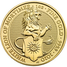 2020 White Lion of Mortimer, Queen's Beast - 1oz Gold Coin