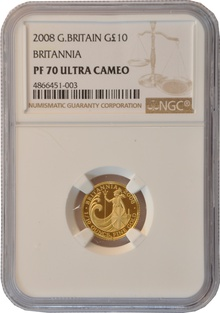 2008 Tenth Ounce Proof Britannia Gold Coin NGC PF70