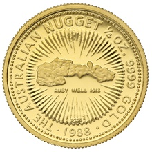 1988 Proof Quarter Ounce Gold Australian Nugget