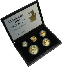 1990 Proof Britannia Gold 4-Coin Set Boxed