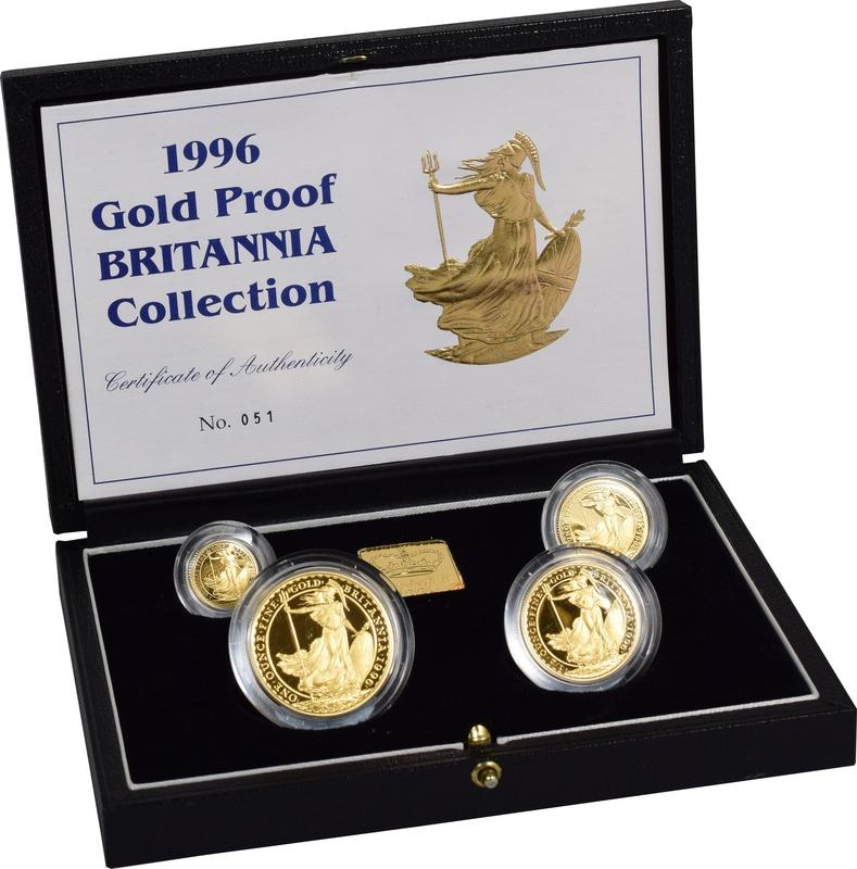 1996 Proof Britannia Gold 4-Coin Set Boxed