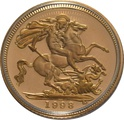 1998 Gold Half Sovereign Elizabeth II Fourth Head Proof