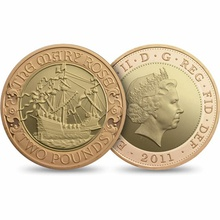 2011 £2 Two Pound Proof Gold Coin: Mary Rose Boxed