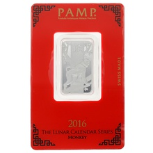 2016 PAMP 10 Gram Silver Year of the Monkey Bar Minted