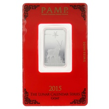 2015 PAMP 10 Gram Silver Year of the Goat Bar Minted