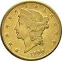 1900 $20 Double Eagle Liberty Head Gold Coin, San Francisco