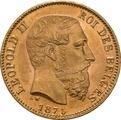 20 Belgian Franc Leopold II - type 2 1870 - 1882