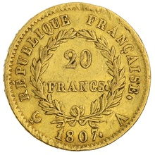 1807 20 French Francs - Napoleon (I) Laureate Head - A