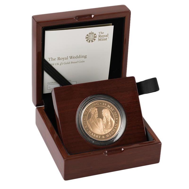 2018 - Gold £5 Proof Crown, The Royal Wedding Boxed