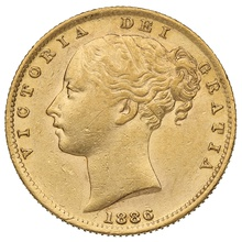 1886 Gold Sovereign - Victoria Young Head Shield Back - S
