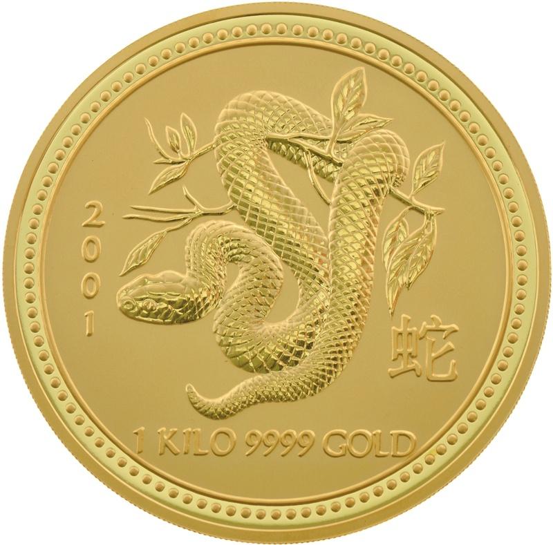 1kg Gold Australian Year of the Snake 2001