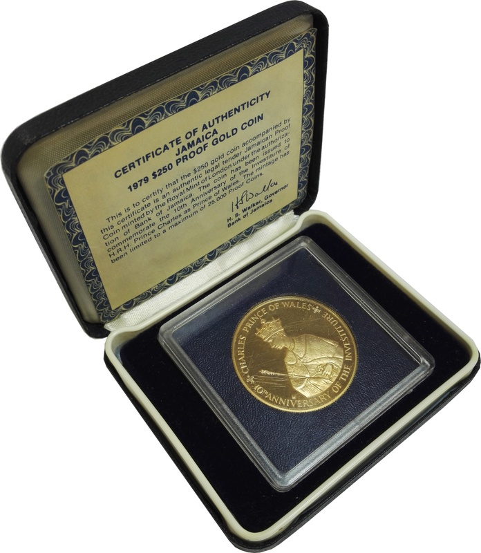 Jamaica 1979 $250 Proof Gold Coin Boxed