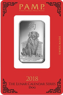 PAMP 1oz 2018 Year of the Dog Silver Bar