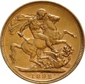 1892 Gold Sovereign - Victoria Jubilee Head - London
