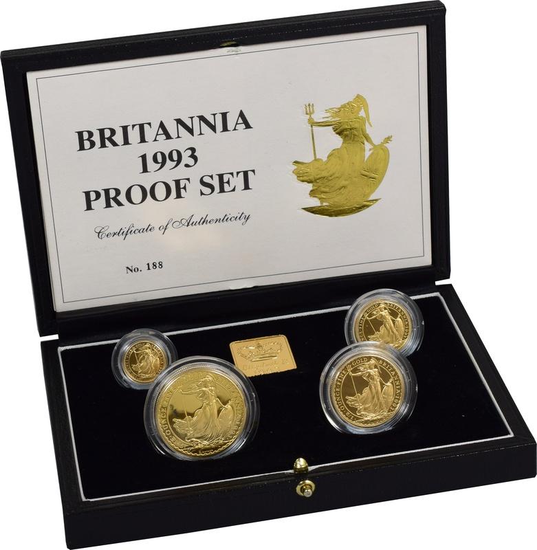 1993 Proof Britannia Gold 4-Coin Set Boxed