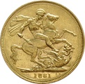 1881 Gold Sovereign - Victoria Young Head - M