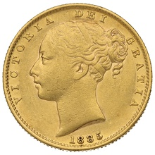 1885 Gold Sovereign - Victoria Young Head Shield Back - S
