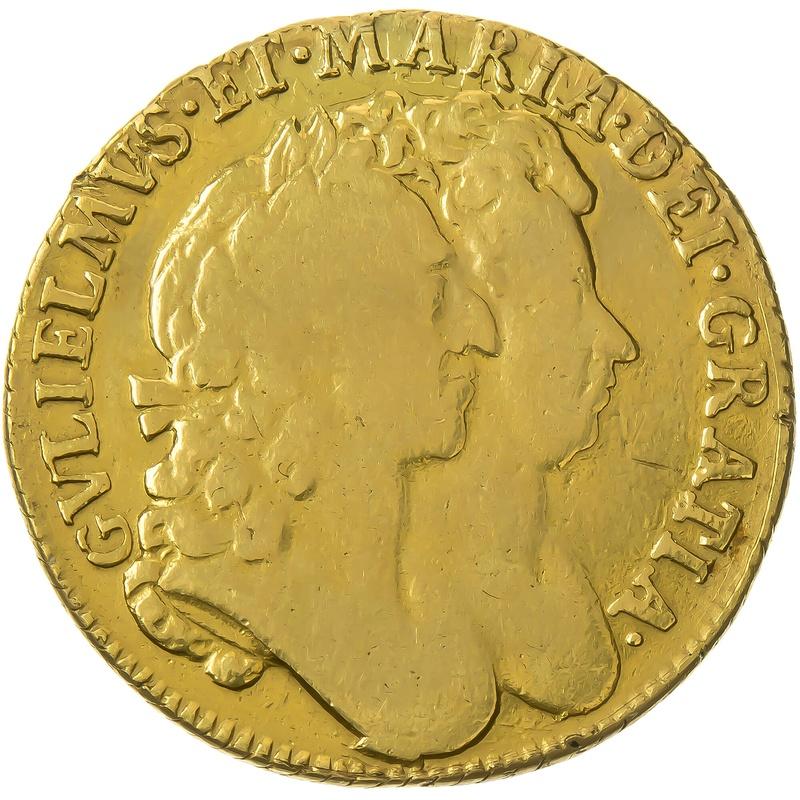 1690 William and Mary Gold Guinea - Fine