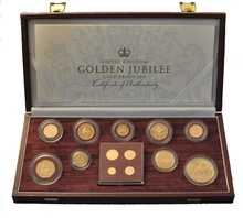 2002 Golden Jubilee, Gold Proof Coin Set with Maundy Money Boxed