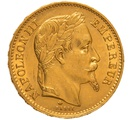 1869 20 French Francs - Napoleon III Laureate Head - A