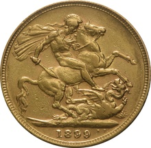 1899 Gold Sovereign - Victoria Old Head - London