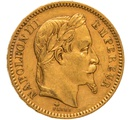 1863 20 French Francs - Napoleon III Laureate Head - A