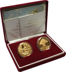 2005 - Twin Gold Five Pound Proof Coin set, Nelson and Trafalgar 200th Anniversary Boxed