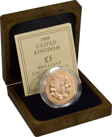 1989 - Gold £5 Brilliant Uncirculated Coin 500th Anniversary Boxed