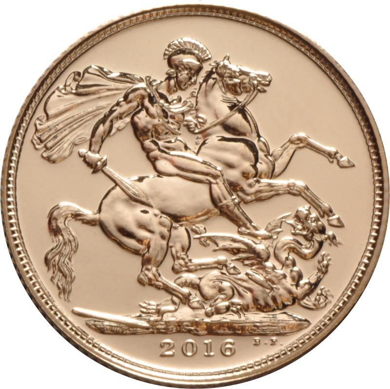 2016 Gold Sovereign Elizabeth II Fifth Head