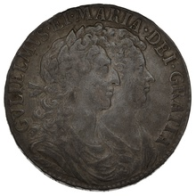 1689  William & Mary Silver Halfcrown - About Very Fine
