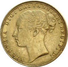 1885 Gold Sovereign - Victoria Young Head - London