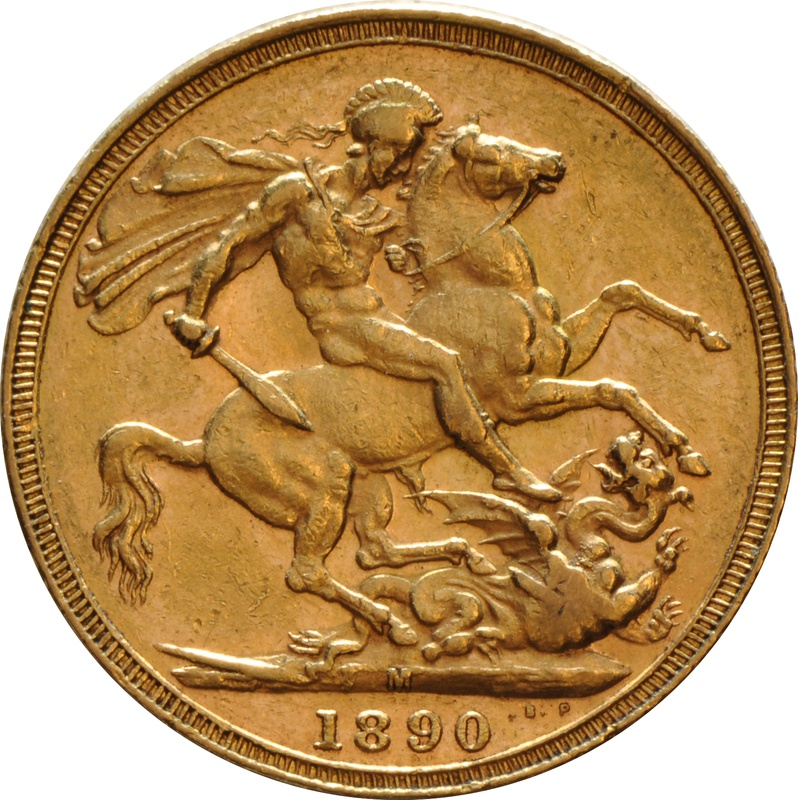 1890 Gold Sovereign - Victoria Jubilee Head - M