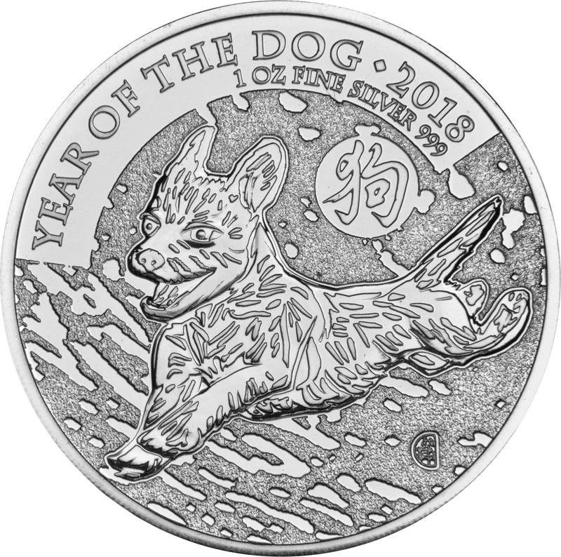 2018 Royal Mint 1oz Year of the Dog Silver Coin