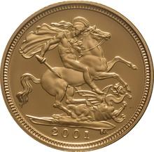 2001 Gold Half Sovereign Elizabeth II Fourth Head Proof