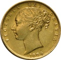 1884 Gold Sovereign - Victoria Young Head Shield Back- M