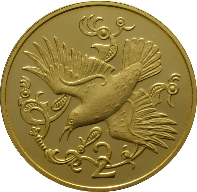 1981 Isle of Man Gold Two Pence Piece - Red Billed Chough