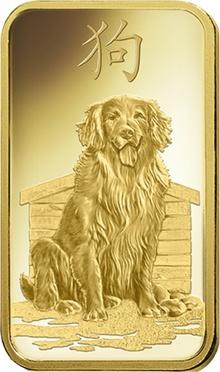 PAMP 1oz 2018 Year of the Dog Gold Bar