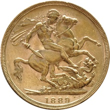 1889 Gold Sovereign - Victoria Jubilee Head - London