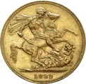 1882 Gold Sovereign - Victoria Young Head - M