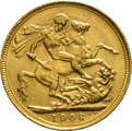 1908 Gold Sovereign - King Edward VII - M