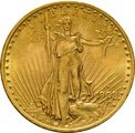 1908 $20 Double Eagle St Gaudens Head Gold Coin, Denver
