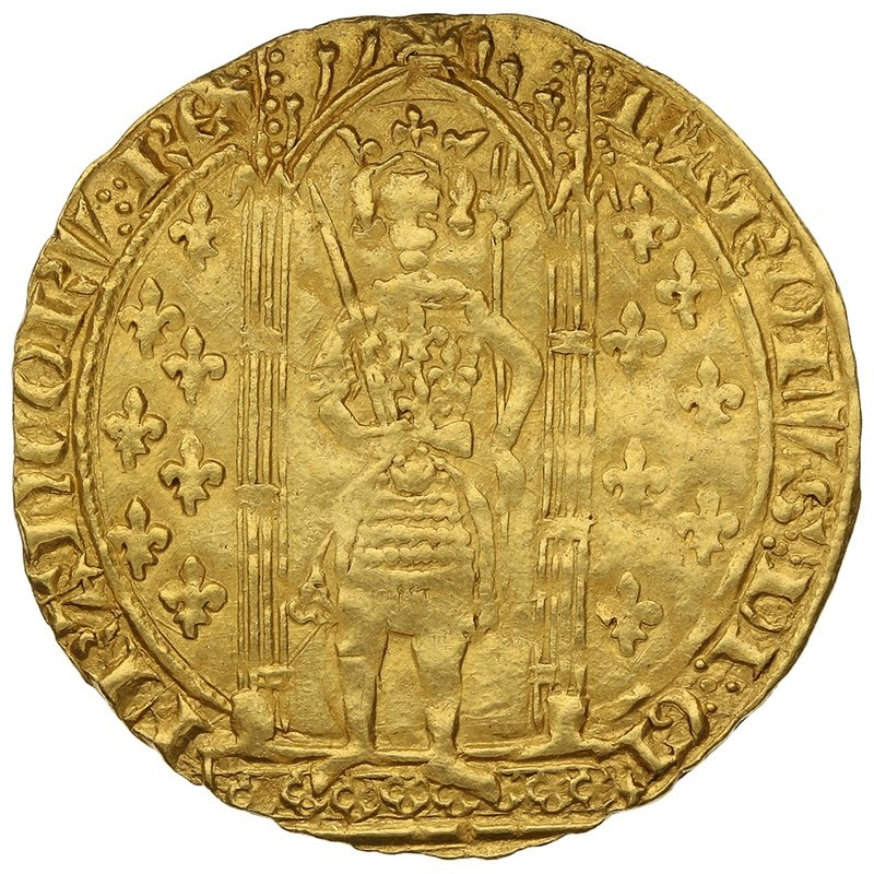 1364-1380 France Charles V Gold Franc a Pied