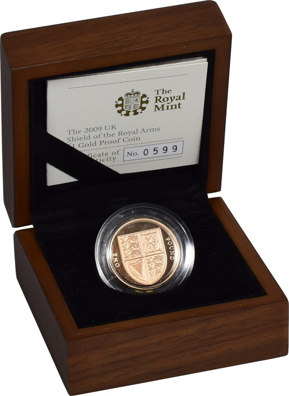 2009 UK Shield of the Royal Arms £1 One Pound Gold Proof Coin Boxed