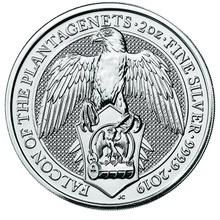 2019 2oz Silver Coin, Falcon of the Plantagenets - Queen's Beast Boxed